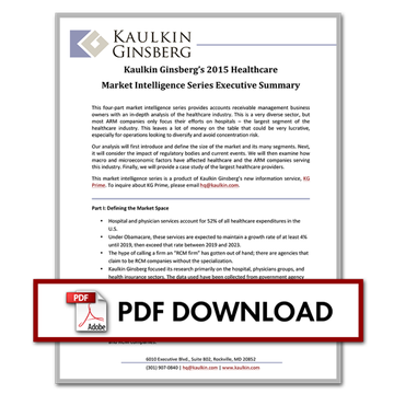 Kaulkin Ginsberg's 2015 Healthcare Market Intelligence Series Executive Summary