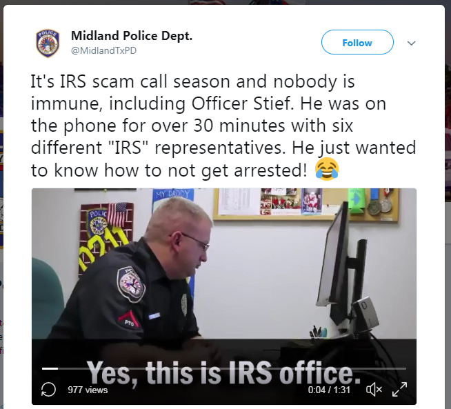 Midland police officer talks with scammer - March 2018