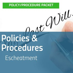Cover image for Escheatment Policies & Procedures packet with image of person writing My Last Will & Testament using a calligraphy pen [Image by creator insideARM from ]
