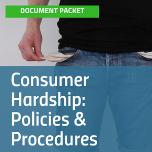 Cover for Consumer Hardship: Policies & Procedures document packet with image of man wearing jeans showing his empty pockets [Image by creator insideARM from ]